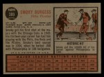1962 Topps #389   Smoky Burgess Back Thumbnail