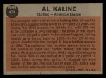 1962 Topps #470  All-Star  -  Al Kaline Back Thumbnail