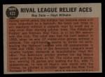 1962 Topps #423  Rival League Relief Aces  -  Roy Face / Hoyt Wilhelm Back Thumbnail