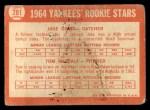 1964 Topps #281   Yankees Rookie Stars  -  Jake Gibbs / Tom Metcalf Back Thumbnail