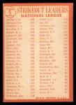 1964 Topps #5  1963 NL Strikeout Leaders  -  Sandy Koufax / Jim Maloney / Don Drysdale Back Thumbnail