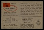 1954 Bowman #123   Kline Gilbert Back Thumbnail