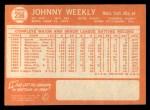 1964 Topps #256   Johnny Weekly Back Thumbnail