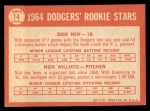 1964 Topps #14  Dodgers Rookies  -  Dick Nen / Nick Willhite Back Thumbnail