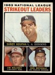 1964 Topps #5  NL Strikeout Leaders  -  Sandy Koufax / Jim Maloney / Don Drysdale Front Thumbnail