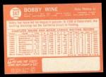 1964 Topps #347   Bobby Wine Back Thumbnail