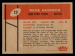 1960 Fleer #23  Mike Hudock  Back Thumbnail