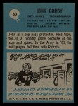 1964 Philadelphia #60  John Gordy   Back Thumbnail