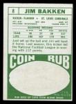 1968 Topps #8  Jim Bakken  Back Thumbnail