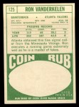 1968 Topps #125   Ron Vanderkelen Back Thumbnail