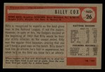 1954 Bowman #26 COR  Billy Cox Back Thumbnail