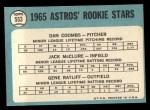 1965 Topps #553   Astros Rookie Stars  -  Jack McClure / Dan Coombs / Gene Ratliff Back Thumbnail