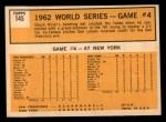 1963 Topps #145  1962 World Series - Game #4 - Hiller Blasts Grand Slammer  -  Chuck Hiller Back Thumbnail