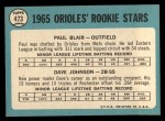 1965 Topps #473  Orioles Rookies  -  Paul Blair / Davey Johnson Back Thumbnail