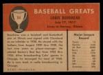 1961 Fleer #94  Lou Boudreau  Back Thumbnail
