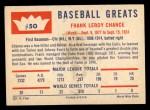 1960 Fleer #50  Frank Chance  Back Thumbnail