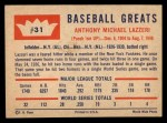 1960 Fleer #31  Tony Lazzeri  Back Thumbnail