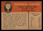 1961 Fleer #110  Stan Hack  Back Thumbnail