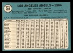 1965 Topps #293  Angels Team  Back Thumbnail