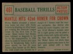 1959 Topps #461  Mantle Hits 42nd Homer for Crown  -  Mickey Mantle Back Thumbnail