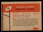 1960 Fleer #65  Willie Evans  Back Thumbnail