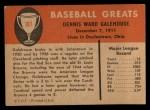 1961 Fleer #107   Dennis Galehouse Back Thumbnail