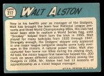 1965 Topps #217   Walter Alston Back Thumbnail