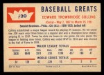1960 Fleer #20   Eddie Collins Back Thumbnail