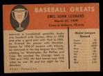 1961 Fleer #121   Dutch Leonard Back Thumbnail