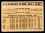1963 Topps #288   White Sox Team Back Thumbnail