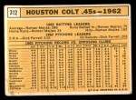 1963 Topps #312  Colt .45s Team  Back Thumbnail