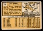 1963 Topps #378  Bill Henry  Back Thumbnail