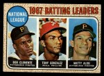 1968 Topps #1  1967 NL Batting Leaders  -  Matty Alou / Roberto Clemente / Tony Gonzalez Front Thumbnail