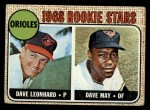 1968 Topps #56  Orioles Rookies  -  Dave Leonhard / Dave May Front Thumbnail