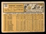 1963 Topps #239  Harvey Haddix  Back Thumbnail