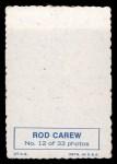 1969 Topps Deckle Edge #12  Rod Carew  Back Thumbnail