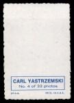 1969 Topps Deckle Edge #4   Carl Yastrzemski    Back Thumbnail