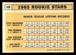 1963 Topps #496  Rookies    -  Jack Smith / Carl Bouldin / Steve Dalkowski / Fred Newman Back Thumbnail