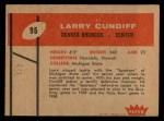 1960 Fleer #95  Larry Cundiff  Back Thumbnail