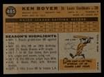 1960 Topps #485   Ken Boyer Back Thumbnail