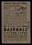 1952 Bowman #8   Pee Wee Reese Back Thumbnail