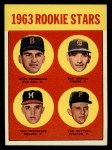 1963 Topps #299   Rookie Stars    -  Dave Morehead / Tom Butters / Dan Schneider / Bob Dustal Front Thumbnail