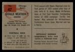 1954 Bowman #47   Gerald Weatherly Back Thumbnail
