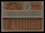 1972 Topps #653   Jim Fairey Back Thumbnail
