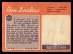 1970 Topps #194   Ron Snidow Back Thumbnail