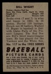 1952 Bowman #117   Bill Wight Back Thumbnail