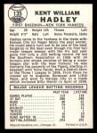 1960 Leaf #135  Kent Hadley  Back Thumbnail