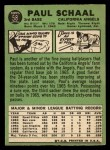 1967 Topps #58 ERR  Paul Schaal Back Thumbnail
