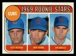1969 Topps #602 ERR  -  Alec Distaso / Don Young / Jim Qualls  Cubs Rookies Front Thumbnail