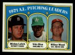 1972 Topps #94  1971 AL Pitching Leaders    -  Vida Blue / Mickey Lolich / Wilbur Wood Front Thumbnail